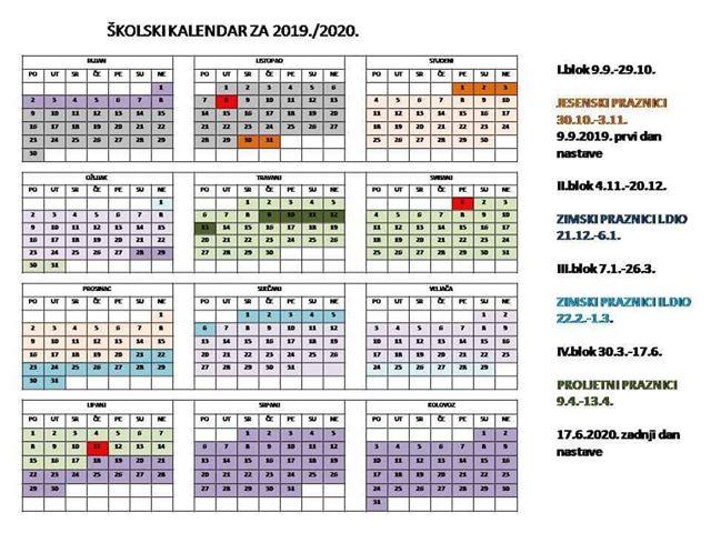 Školski kalendar za 2019./2020. - klik za veću sliku